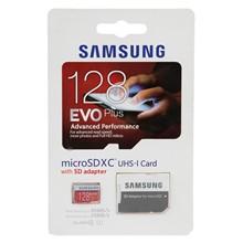 تصویر کارت حافظه microSDXC سامسونگ مدل Evo Plus کلاس 10 استاندارد UHS-I U1 سرعت 80MBps همراه با آداپتور ظرفیت 128 گیگابایت