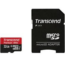 تصویر کارت حافظه microSDHC ترنسند مدل Premium کلاس 10 استاندارد UHS-I U1 سرعت 60MBps 400X همراه با آداپتور SD ظرفیت 32 گیگابایت